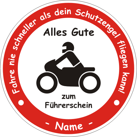 schild ronde f hrerschein motorrad. Black Bedroom Furniture Sets. Home Design Ideas