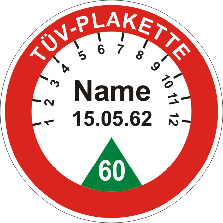 Schild Ronde: Vorlage TÜV Plakette
